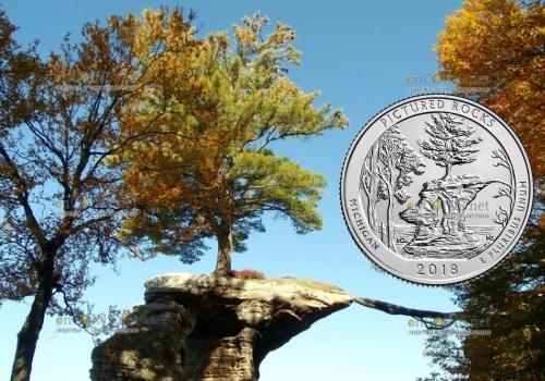 США монета четверть доллара Пикчерд Рокс Нешнел Лейкшор