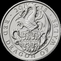 Англии монета Красный Дракон Уэльса, реверс