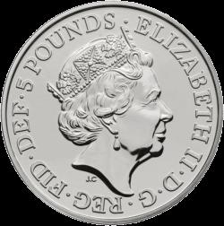 Англия монета Красный Дракон Уэльса, аверс