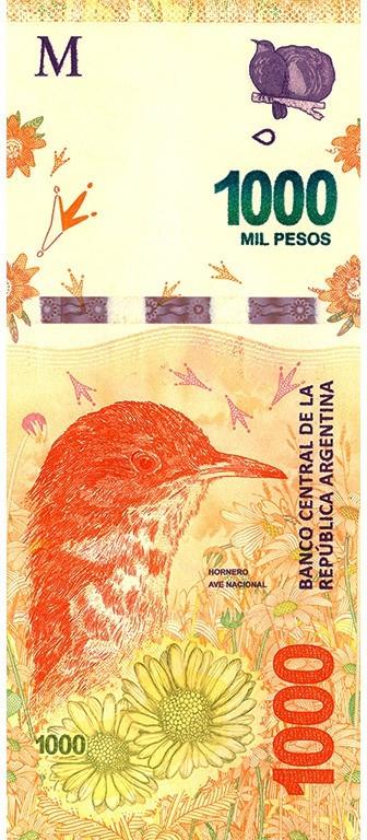 Аргентина банкнота 1000 песо, 2017 год, лицевая сторона