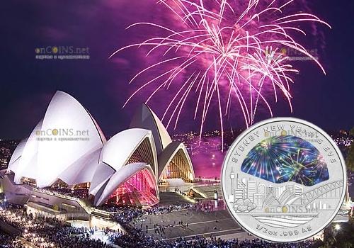 Австралия монета 1 доллар Новый Год 2018