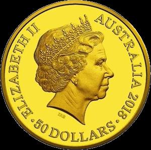 Австралия монета 50 долларов XXI Игры Содружества 2018, аверс