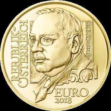 Австрии монета 50 евро Альфред Адлер, аверс