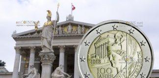 Австрия ходовая монета 2 евро 100 лет Австрийской Республики
