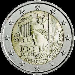Австрия ходовая монета 2 евро 100 лет Австрийской Республики, реверс