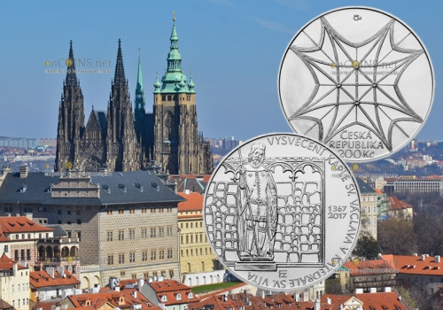 Чехия монета 200 крон 650-летие освящения часовни Св. Вацлава в Соборе Святого Вита