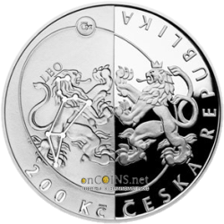 Чехия монета 200 крон Чешское Астрономическое общество, аверс