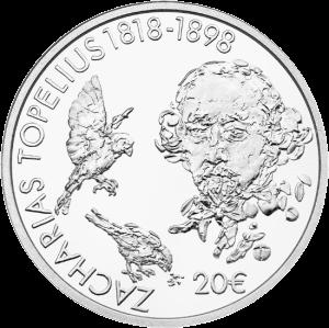 Финляндия монета 20 евро Захариас Топелиус, реверс