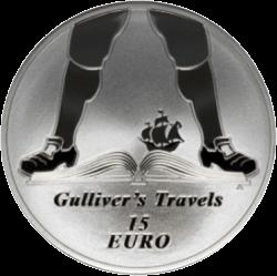 Ирландия монета 15 евро Путешествие Гулливера, реверс