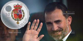 Испания монета 30 евро 50-летие короля Филиппа VI