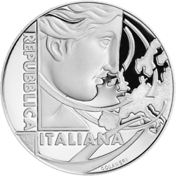 Италия монета 5 евро 60 лет Римскому договору, аверс