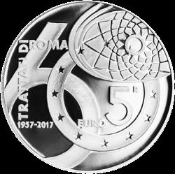 Италия монета 5 евро 60 лет Римскому договору, реверс