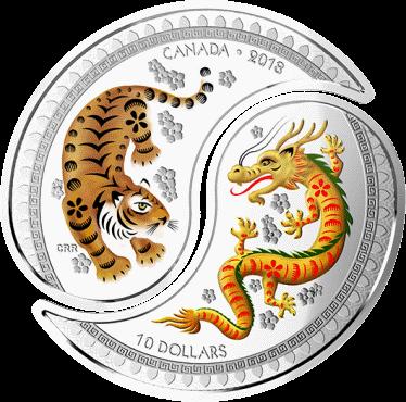 Канада монета 10 долларов Дракон и Тигр, реверс