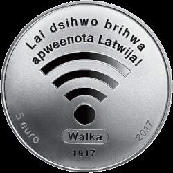 Латвия монета 5 евро 100 лет первой сессии Латышского временного национального совета, аверс