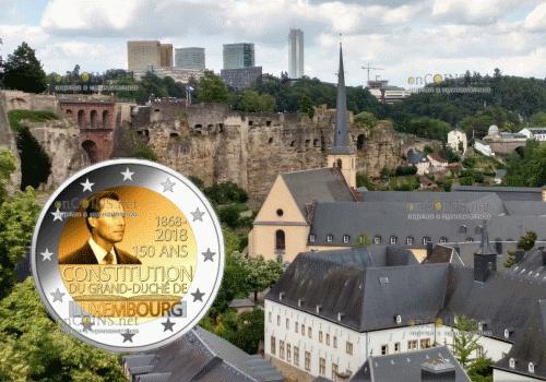 Люксембург монета 2 евро 150 лет Конституции Люксембурга
