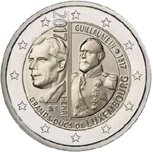 Люксембург монета 2 евро Великий Герцог Гийом III, реверс
