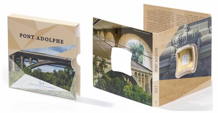 Люксембург монета 2,5 евро мост Адольфа подарочная упаковка