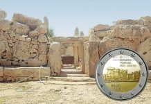 Мальта монета 2 евро храмы Мнайдра