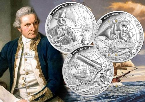 Острова Кука набор монет 5 долларов Капитан Джеймс Кук