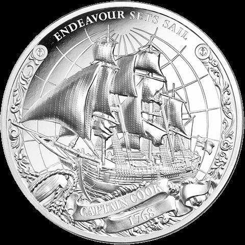 Острова Кука набор монет Капитан Джеймс Кук - ENDEAVOR SETS SAILS, реверс