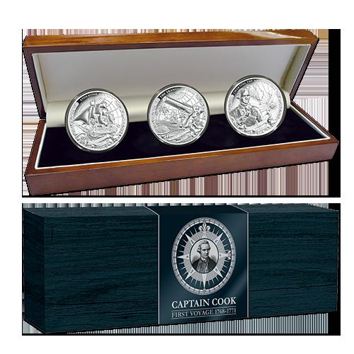 Острова Кука набор монет по 5 долларов Капитан Джеймс Кук, подарочная упаковка