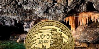 Словакия монета 100 евро Словацкий Карст