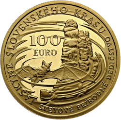 Словакия монета 100 евро Словацкий Карст, реверс