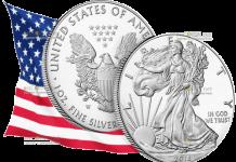 США монета 1 доллар Американский орел 2018