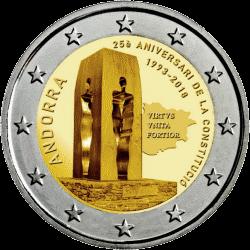 Андорра монета 2 евро 25 лет Конституции Андорры, реверс