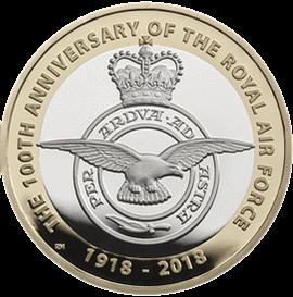 Англия монета 2 фунта 100-летие Королевских ВВС, реверс
