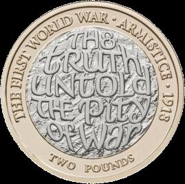 Англия монета 2 фунта 100-летие окончания Первой мировой войны, реверс