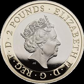 Англия монета 2 фунта 100-летие Королевских ВВС, аверс