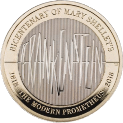 Англия монета 2 фунта 200-летие выхода в свет романа Мэри Шелли «Франкенштейн», реверс