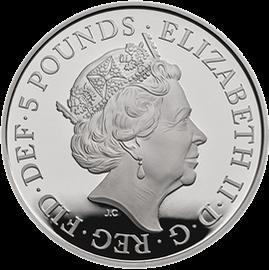 Англия монета 5 фунтов 5-летие Его Королевского Высочества принца Джорджа Кембриджского, аверс