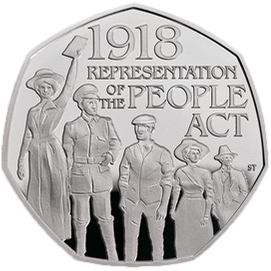 Англия монета 50 пенсов 100-летие принятия Закона Британии О народонаселении, реверс