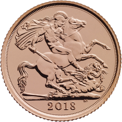 Англия монета соверен 2018 года, реверс