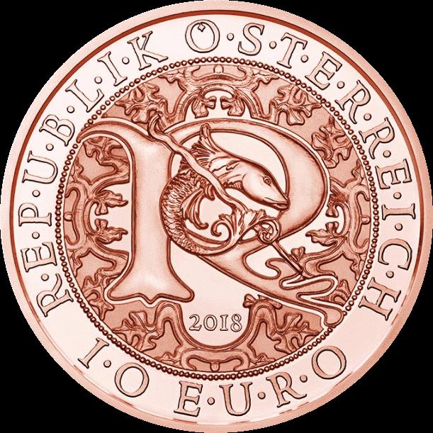 Австрия монета 10 евро Ангел-Хранитель Рафаэль, аверс