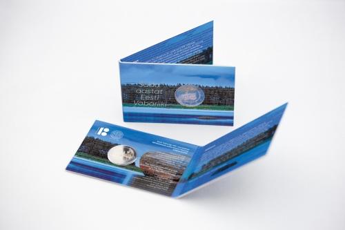 Эстония монета 2 евро 100-летие Эстонской Республики, подарочная упаковка
