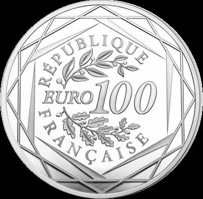 Франция монета 100 евро Марианна - символ Французской революции, аверс