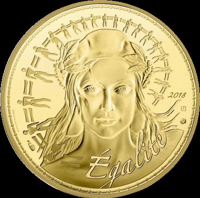 Франция монета 250 евро Марианна - символ Французской революции, реверс