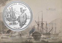 Канада монета 1 доллар Джеймс Кук