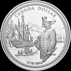 Канада монета 1 доллар Джеймс Кук, реверс