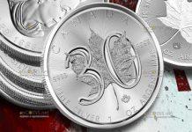 Канаде монета 5 долларов Кленовый лист 1988-2018