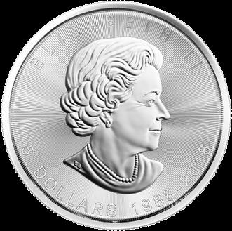 Канаде монета 5 долларов Кленовый лист 1988-2018, аверс