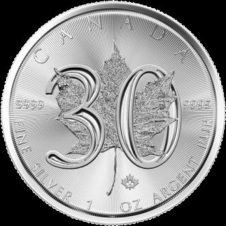 Канаде монета 5 долларов Кленовый лист 1988-2018, реверс