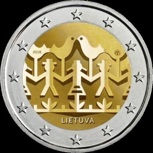 Литва монета 2 евро Литовский праздник песни и танца, реверс