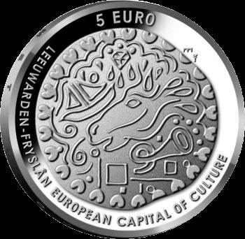 Нидерланды монета 5 евро Леуварден Культурная столица Европы, реверс