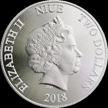 Ниуэ монета 2 доллара Лев Иудейский, аверс