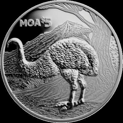 Новая Зеландия монет 5 долларов Бескрылая моа, реверс