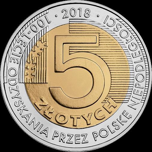 Польша монета 5 злотых 100-летие независимости, реверс